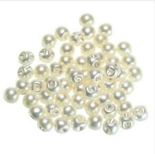 50Pcs White Ivory Pearl Sewing Shank Buttons DIY Scrapbooking 8mm 12mm Craft