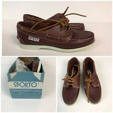 Vintage 1980s Brown Leather Lace Up Deck Shoes Topsiders Boat Shoes Narrow Width