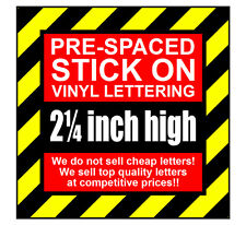 3 Characters 2.25 inch 57mm high pre-spaced stick on vinyl letters & numbers