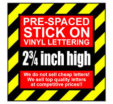 3 Characters 2.75 inch 70mm high pre-spaced stick on vinyl letters & numbers
