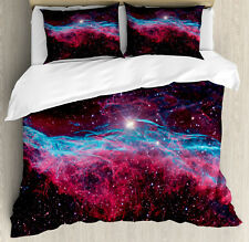 Nebula Duvet Cover Set with Pillow Shams Outer Space Stars Galaxy Print