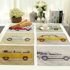 Vintage car Placemats Cotton Linen Dining Room Table Mat Heat Insulation MC45