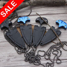 Mini Dual Edge Dagger Fixed Blade Neck Knife Hunting Camping Necklace Knife New