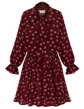 Women's Sweet Bow Tie Neck Flared Long Sleeves Pleated Floral pattern Dress