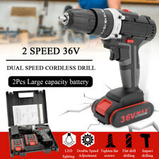 "36V 5200mAh 25+3 Cordless Electric Impact Power 1/2"" Keyless Drill LED 2-Speed"