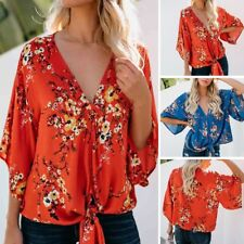 Women Summer Batwing Floral Chiffon Half Sleeve T-Shirt V Neck Top Casual Blouse
