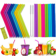 6Pcs Silicone Drinking Reusable Straws Set Long Flexible Straws with Brushes