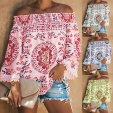 US Women Off The Shoulder Short Sleeve Tops Trim Tassel Loose Shirt Blouses Hot
