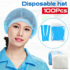 100Pcs Disposable Hair Net Cap Stretch Hat Industrial Non-Woven Cap Dustproof