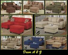 3 pcs Microfiber Sectional Sofa Set W Ottoman Small Living Room Sectional Couch