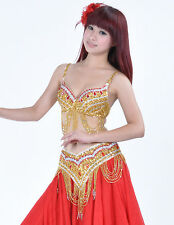 New High Quality Belly Dance Costume 2 Pics Top Bra&Belt Size 32-34B/C 4 colours