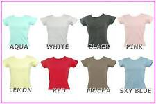NEW LADIES PLAIN BLANK T SHIRT TOP ALL COLOURS + SIZES