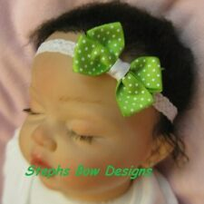 BRIGHT APPLE GREEN WHITE DOTS DAINTY HAIR BOW HEADBAND