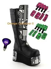 DEMONIA TECHNO-850 Womens Blacklight UV Platform Cyber Boots w/ Panels SIZE 9