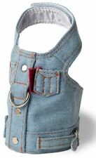 Denim Blue Jean Dog Harness Vest Doggles all sizes Pet Velcro Closures