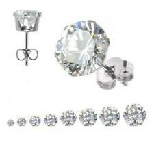 PAIR (2) ROUND CLEAR CZ STUD EARRINGS 3,4,5,6,7,89 10MM
