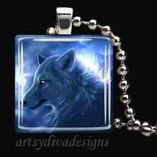 BLUE WOLF GLASS TILE PENDANT NECKLACE KEYCHAIN