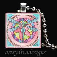 PINK DRAGONFLY GLASS TILE PENDANT NECKLACE KEYCHAIN