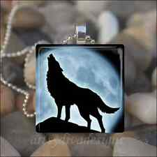 HOWLING WOLF COYOTE MOON GLASS TILE PENDANT NECKLACE KEYRING