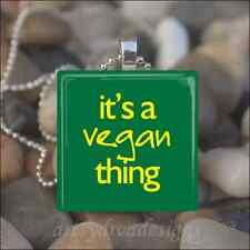 VEGAN VEGETARIAN GLASS TILE PENDANT NECKLACE design 1
