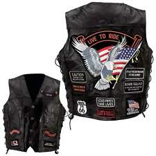 Men's Genuine Leather Motorcycle Vest w/14 Patches NEW
