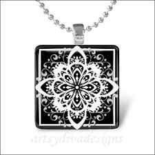 """STARBURST FLOWER"" DAMASK GLASS TILE PENDANT NECKLACE"