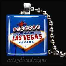"""""""WELCOME TO LAS VEGAS"""" NEVADA GLASS PENDANT NECKLACE"""