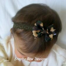 GREEN BROWN CAMO  DAINTY HAIR BOW LACE HEADBAND NEWBORN