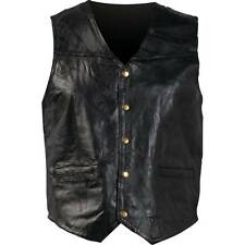 Mens Genuine Leather Motorcycle Vest, Black New