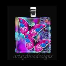 """BUTTERFLY LOVE"" GLASS TILE PENDANT NECKLACE KEYCHAIN"