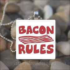 """BACON RULES"" MEAT LOVE GLASS TILE PENDANT NECKLACE"