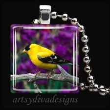 """YELLOW FINCH"" BIRD GLASS TILE PENDANT NECKLACE"