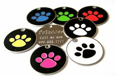 "Large Paw Stainless Steel Pet ID Tag Custom Engraved Dog Cat 1-3/8"" Personalized"