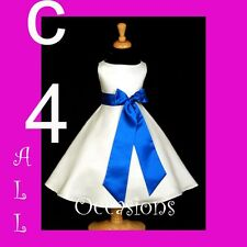FLOWER GIRL DRESS-IV/ROYAL BLUE 18M 2 3T 4 6 8 10 12 14