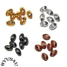 OVAL CORRUGATED 5x3mm METAL BEADS 100pc Free Shipping