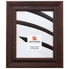 "Craig Frames Asian Ornate, 2"" Rustic Dark Brown Wood Picture Frame"