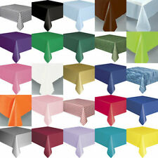 PLASTIC TABLECOVER TABLE CLOTH SOFT FEEL REUSABLE 20COLOURS ROUND OBLONG SKIRTS