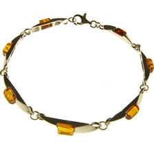 BALTIC AMBER STERLING SILVER 925 DESIGNER BRACELET JEWELLERY - EXQUISITE FASHION