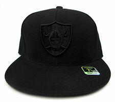 Oakland Raiders Solid Black All Sizes Fitted Cap Hat by Reebok