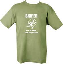 Military Printed SNIPER T Shirt OLIVE GREEN ALL SIZES ONLY DIE TIRED ARMY FORCES