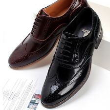 New Mens Dress Leather Shoes Formal Lace up Oxfords Casual Black Brown Deluxe