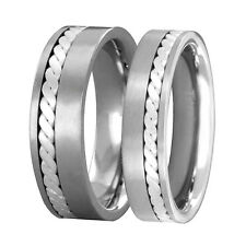 He/She Titanium Woven Sterling Silver Inlay Satin Wedding Ring Sets No Stone