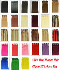 """More Color 20"""" 6Pcs 100% Real Human Hair Clip In Extensions, 30g&12""""W,Free Ship"""