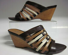 "*Sale*Clark's""Popple Dance""Ladies Ebony Combi(Brown)Leather Slip On Mule Sandals"