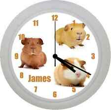 PERSONALISED CUTE GUINEA PIG NOVELTY PLASTIC WALL CLOCK