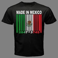 MADE IN MEXICO Mexican Country city Barcode Flag black CUSTOM T-shirt *ALL SIZES