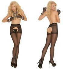 CROTCHLESS SHEER Pantyhose EM BLACK O/S & PLUS