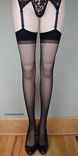 SHEER PLAIN TOP Thigh High Stockings 1725 BLACK O/S & PLUS
