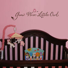 GROW WISE LITTLE OWL wall decal childrens nursery art vinyl lettering saying
