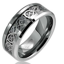 8mm Tungsten Carbide Silver Dragon Celtic Scroll Inlay Ring Men's Wedding Band